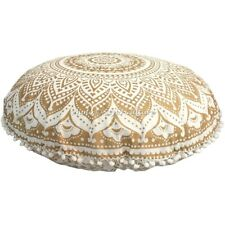 Ethnic Round Floor Cushion Cover Mandala Pom Pom Lace Gold 32x32 Cotton Pouffe