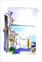 "Original Watercolor Painting 9 x 6"" Beautiful Greece Not ACEO"