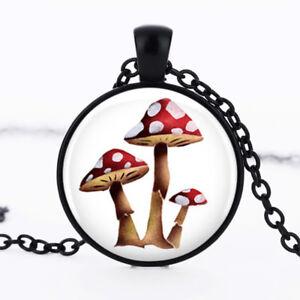 Mushroom photo dome Black Cabochon Glass Necklace chain Pendant