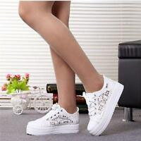 Women Mesh Round Toe Hollow Platform Wedge Shoes Lace Up High Top Sneakers New