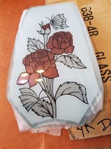 OK Touch Lamp Replacement Glass Panel-Red Roses-638-4R - 1 panel