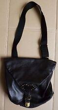 Grand sac à main besace en cuir noir + caoutchouc BOCAGE
