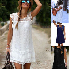 Women Summer Sleeveless Loose Crew Neck Dress Lace Solid Beach Casual Sundress
