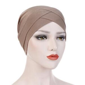 Women's Stretch Hat Turban Cross Headwrap Chemo Bandana Muslim Scarf Hijab Cap
