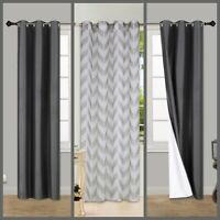 BLACKOUT CURTAIN TOP SILVER GROMMET OR SHEER VOILE VERSATILE HOME MODERN DECOR