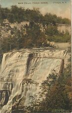 Hand Colored Postcard Main Falls Ithica Gorge NY Student Supply Store Tompkins