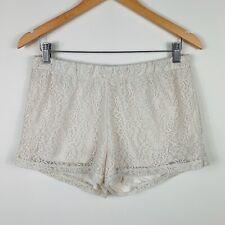 Triumph Womens Shorts Size 12 White Lace Floral Design Elastic Waist Gorgeous