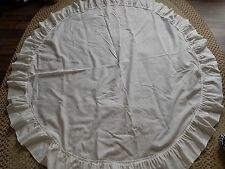 "Cottage chic ivory 56"" round ruffled tablecloth"