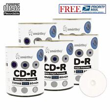 500 Pack Smartbuy CD-R 52X 700MB White Inkjet Printable Blank Disc Priority Mail