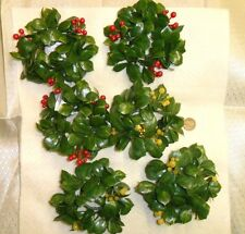 Vintage Plastic Candle Holder Mistletoe Wreaths with Berries lot of 6