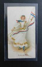 Cigarette Card Wills Australia Vice Regal 1908 Flag Girls of all Nations U S A