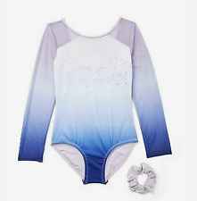 NWT Collection X By Justice Girls Ombre Sparkle Long Sleeve Leotard Size 10