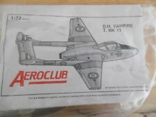 AEROCLUB KIT   1/72   DE HAVILLAND VAMPIRE T.11  ( WITH WHITE METAL PARTS)