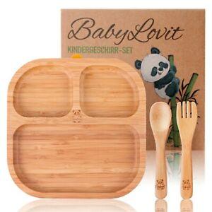 Kinderteller aus Bambus | Baby Teller rutschfest mit Saugnapf & Natur Besteck