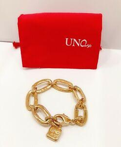 New UNOde50 Brand Gold Tone Eslabomba Awesome Big Links Logo Padlock Bracelet