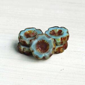 Hawaiian Flower Czech Pressed Glass Beads 14mm - Picasso Blue - 6 Beads - CB005