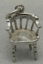 3D silla de plata esterlina encanto antiguo