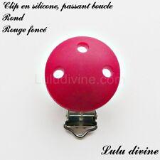 Pince / Clip en silicone, attache tétine, passant boucle, Rond : Rouge foncé
