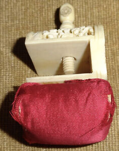 Antique late 1800's ?  Hand Fancy carved Sewing Clamp with Burgundy Pin Cushion