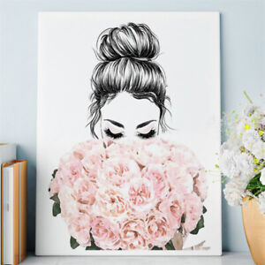 Floral Girl Painting Wall Art Picture Living Room Decoration Pictures No Frame