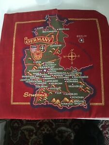 Vintage Germany Souvenir  Red Velvet Colorful Map Country Wall Hanging MCM