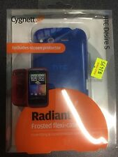 HTC Desire S Frosted TPU Flexi-Case - Blue + Screen Guard CY0399CHRAD Brand New.