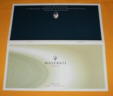 Maserati Spyder 2001 Preisliste Prospekt Brochure Depliant Catalogue Prospetto