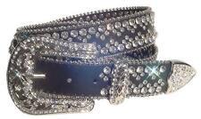 Bejeweled Western Rhinestone Crystal Bling Black Leather Snap On Buckle Belt ML