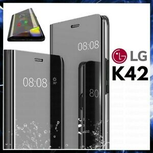 For LG K42 CLEAR VIEW FLIP CASE SMART BOOK MIRROR LUXURY STAND COVER K 42