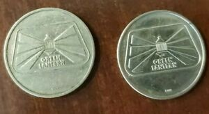 Kansas Obsolete Green Lantern car wash lot of 2 tokens - now Charlie's Midwest