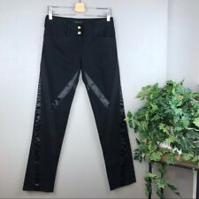 BCBGMaxAzria Criss Cross Matte Satin Ribbon Black Denim Jeans Size 4