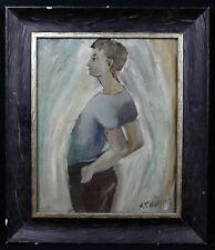 Ecole catalane portrait de jeune femme HST vers 1945 Perpignan Barcelone catalan