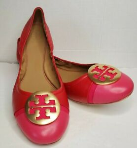 Tory Burch Leather Mini Cap Ballet Flats Red Pink Women's 11M- NEW!!