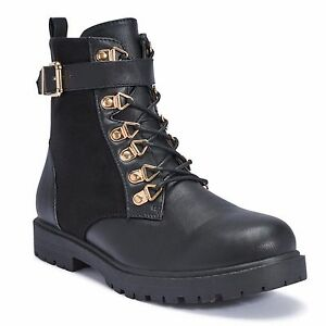 Truffle Colt14 Black Velvet Comabt Boots Chunky Buckle Detail Lace Up Boot