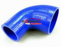 "2.5""-2"" 63mm-51mm Silicone 90 Degree Elbow Intercooler Reducer Hose pipe blue"
