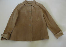 LORD & TAYLOR TAN LONGSLEEVE  SUEDE   LEATHER  JACKET  SIZE . PL