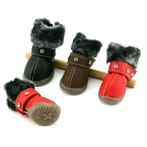 4Pcs Dog Shoes Warm Pet Shoes Winter Bling Rhinestone Puppy Cat Snow Boots New