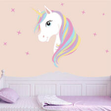 Pink Rainbow Unicorn& Star Wall Sticker Kids Girl Bedroom Quote Vinyl Wall Decal