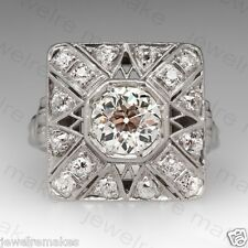 925 Sterling Silver Engagement Wedding Ring 1.74ct White Round Diamond Art Deco
