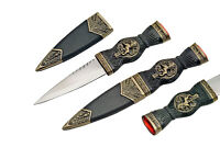 "Celtic Scottish Sgian Skean Dubh Dirk Dagger 7"" Knife Rampant Lion Design Handle"