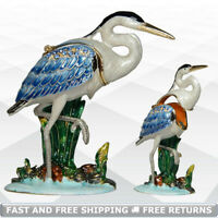 Heron Bird Trinket Jewelry Box with Hinged Lid Jeweled Crystal Decor Collectible