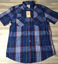 Levi's Plaid Button-Down Short Sleeve Shirt Men's Size MEDIUM Blue NWT