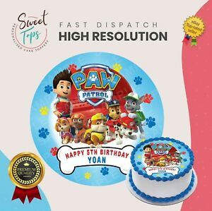 PAW PATROL ROUND EDIBLE BIRTHDAY CAKE TOPPER DECORATION PERSONALISED