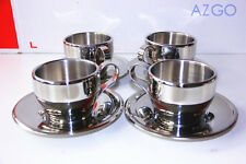 4Sets 200ml Stainless Steel Double Wall Coffee Cup Thermal Espresso Cappuccino