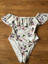 Ladies Swimsuit Size 10 White Floral New Look Off Shoulder Summer Holiday Beach