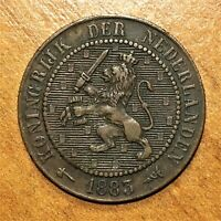 1883 Netherlands 2-1/2 Cents Coin, William III, KM# 108.1, XF