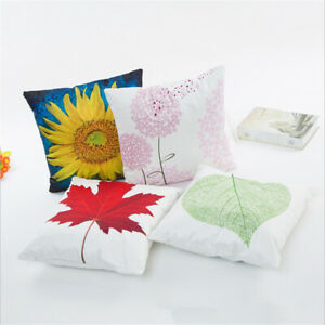 Soft Throw Pillow Case Leaf Sunflower Cushion Cover for Bedroom Car Sofa R