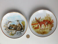 "2 decorative plates Otters Deer Susan Beresford Wild Life of Britain animals 6"""