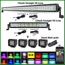 "52INCH 300W + 22"" 120W 5D LED Light Bar RGB Strobe Bluetooth + 4x 3"" Halo Pods"