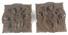 Vtg Bali Carved Wood Indonesian Lovers Wall High Relief Plaque Hanging Lot Of 2